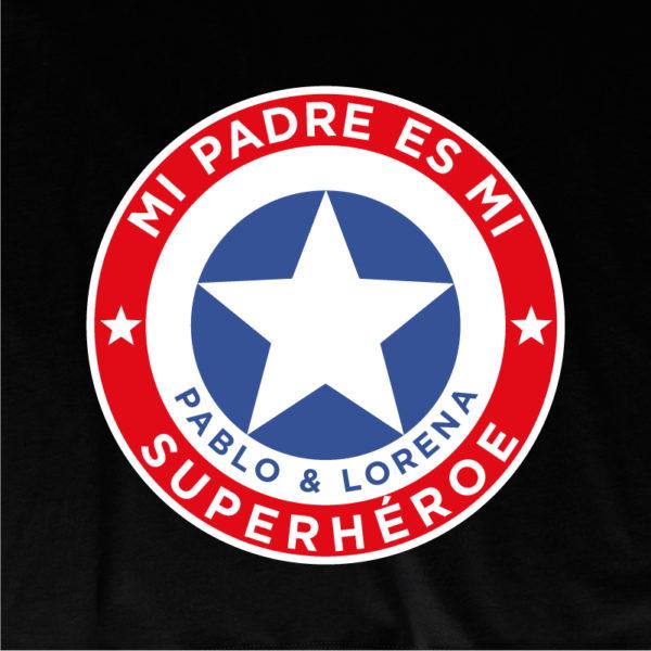 "Dibujo de camiseta personalizada ""Mi padre es Super Capitán"" - negra"