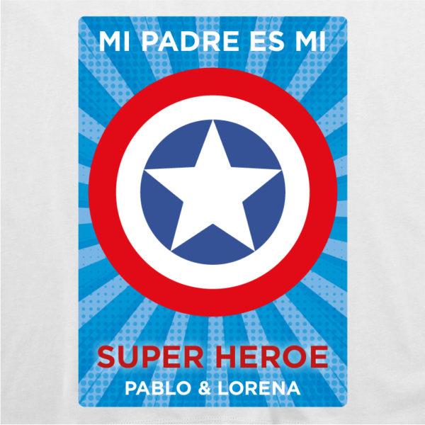 """Dibujo de camiseta personalizada """"Mi padre es Super Capitán 2"""" - blanca"""