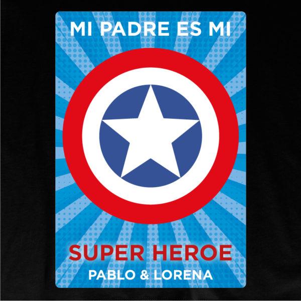 "Dibujo de camiseta personalizada ""Mi padre es Super Capitán 2"" - negra"