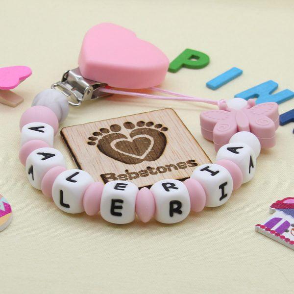 Chupetero Pink Love - Personalizado con Nombre con logo