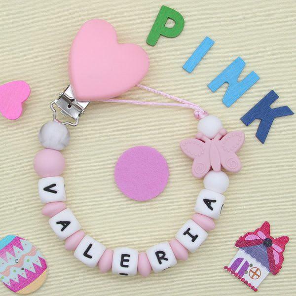 Chupetero Pink Love - Personalizado con Nombre