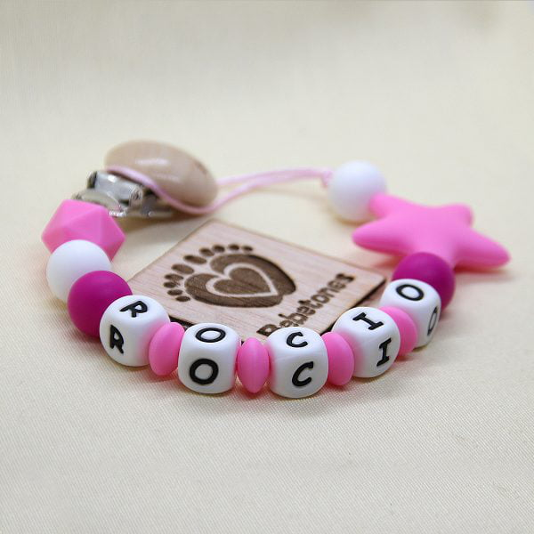Chupetero personalizado Estrella Pink con logo