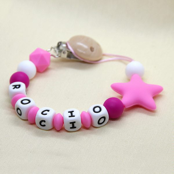 Chupetero personalizado Estrella Pink