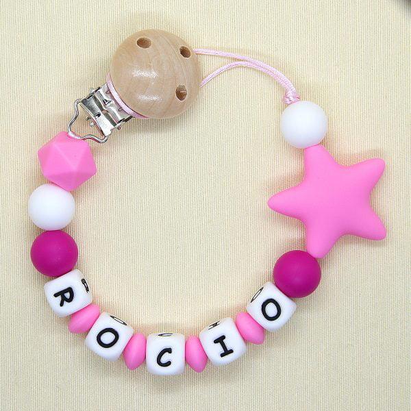 Chupetero personalizado Estrella Pink de arriba