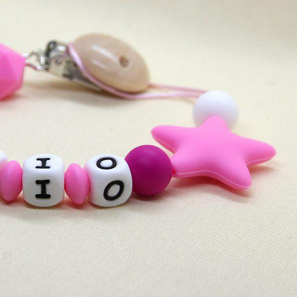Chupetero personalizado Estrella Pink zoom