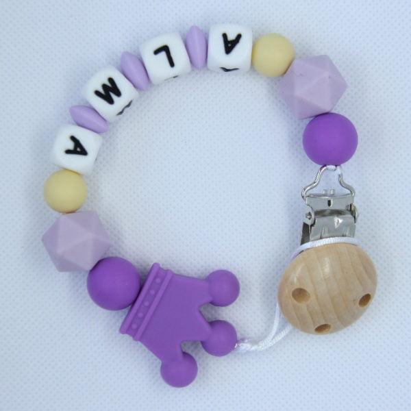 Chupetero personalizado Violetas de arriba