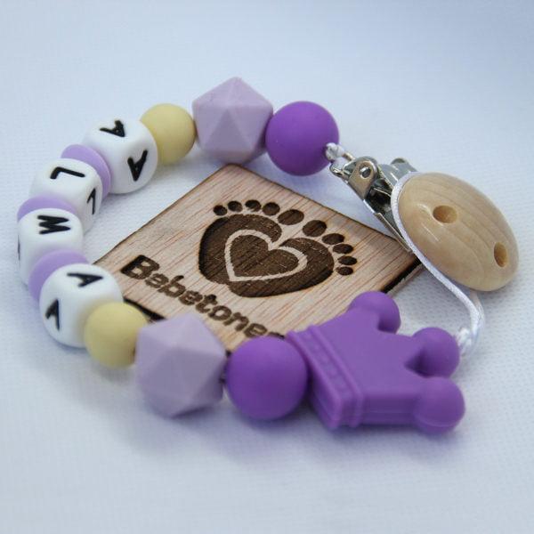 Chupetero personalizado Violetas con logo