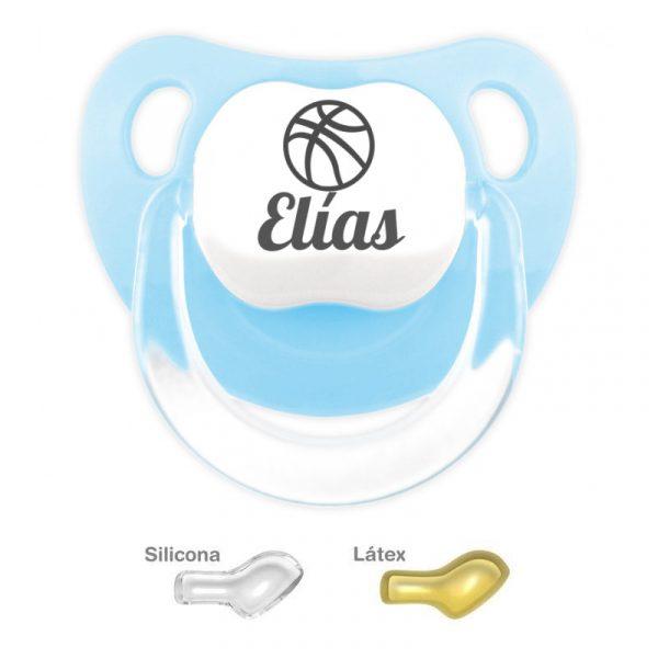 Chupete Personalizado Balón de Baloncesto, color Celeste