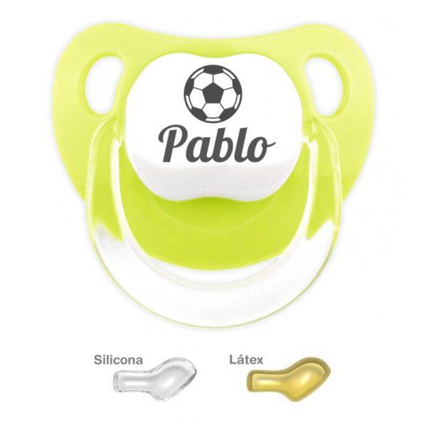 Chupete Personalizado Balón de Fútbol, color Pistacho