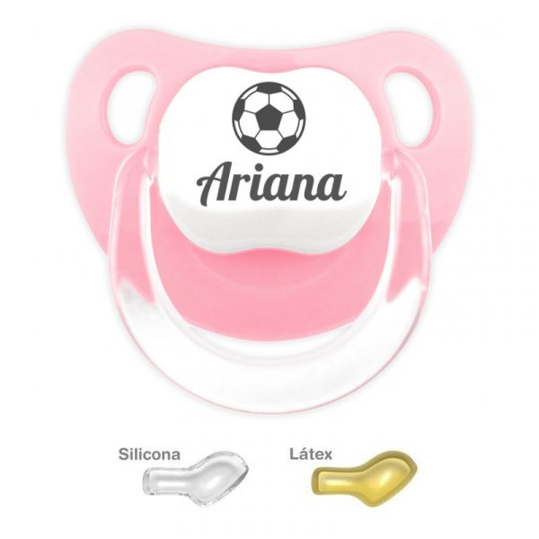 Chupete Personalizado Balón de Fútbol, color Rosa