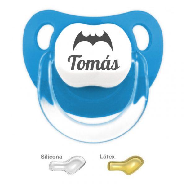 Chupete Azulado Personalizado con nombre y la señal de Batman