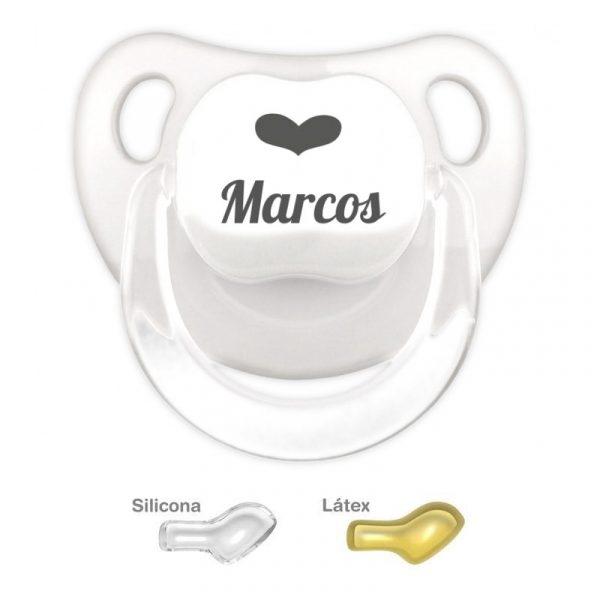 Chupete Blanco Personalizado con Nombre y Corazon dibujado a mano