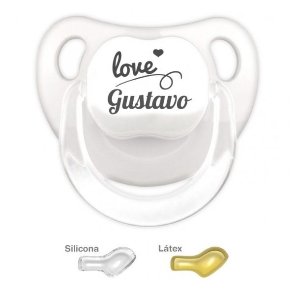 Chupete Personalizado Love, color Blanco