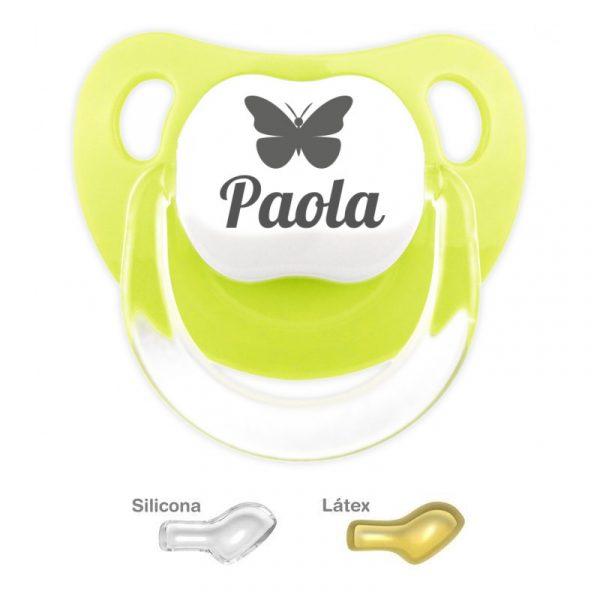 Chupete Rosa Personalizado con una Mariposa color Pistacho