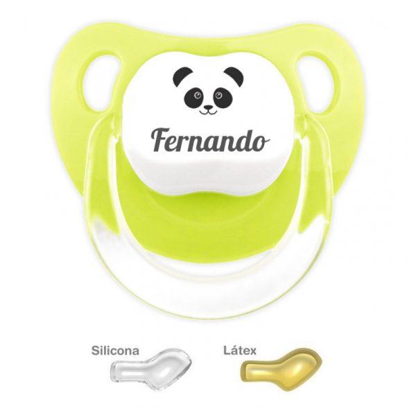 Oso Panda - Chupete Personalizado con Nombre - Pistacho