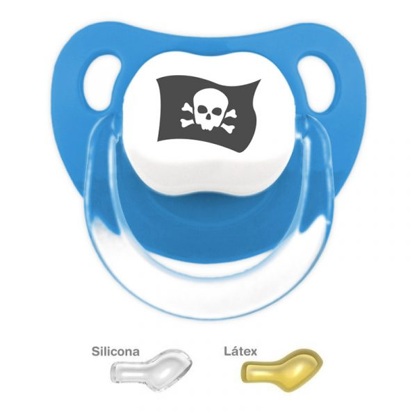 """Chupete personalizado """"Bandera pirata"""" Azulado"""