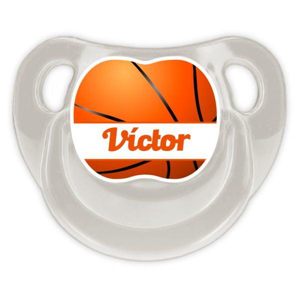 Chupete Personalizado Baloncesto Ball Deluxe color gris