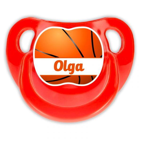 Chupete Personalizado Baloncesto Ball Deluxe color rojo