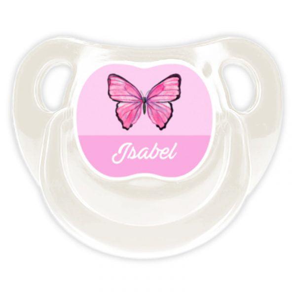 Chupete Personalizado Mariposa Deluxe color blanco