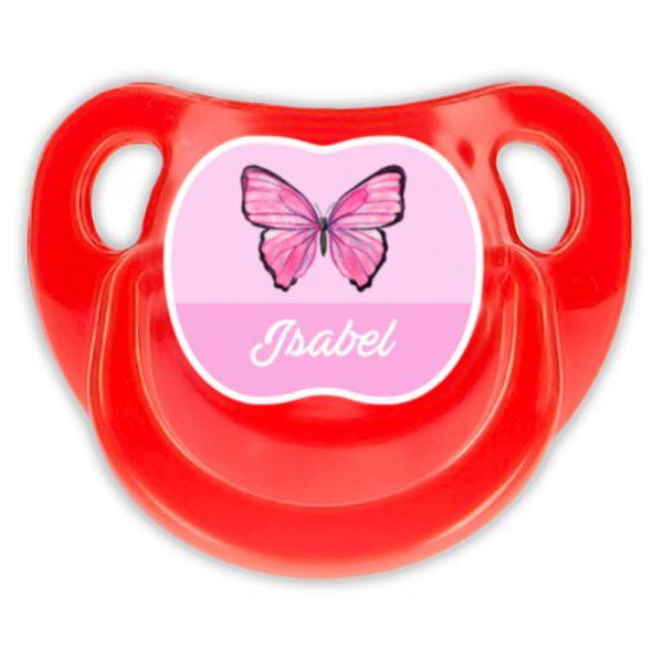 Chupete Personalizado Mariposa Deluxe color rojo