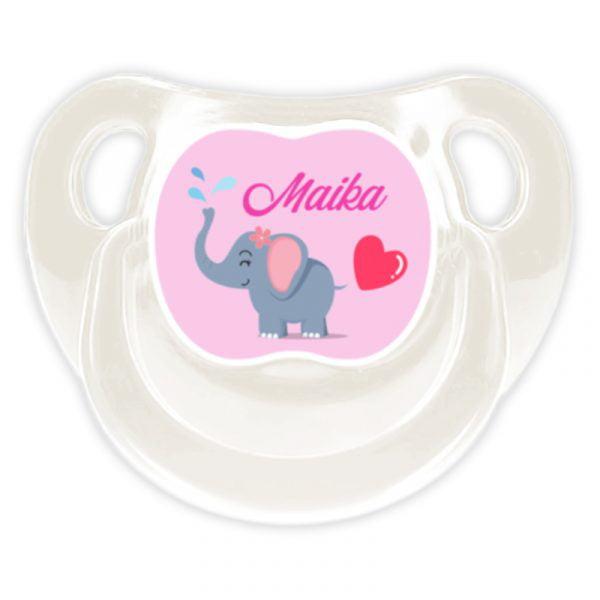 Chupete Personalizado Elefanta Deluxe color blanco