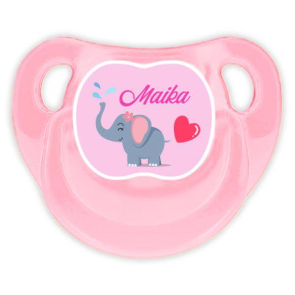 Chupete Personalizado Elefanta Deluxe color rosa