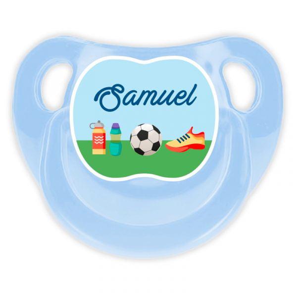 Chupete Personalizado Fútbol Deluxe color celeste