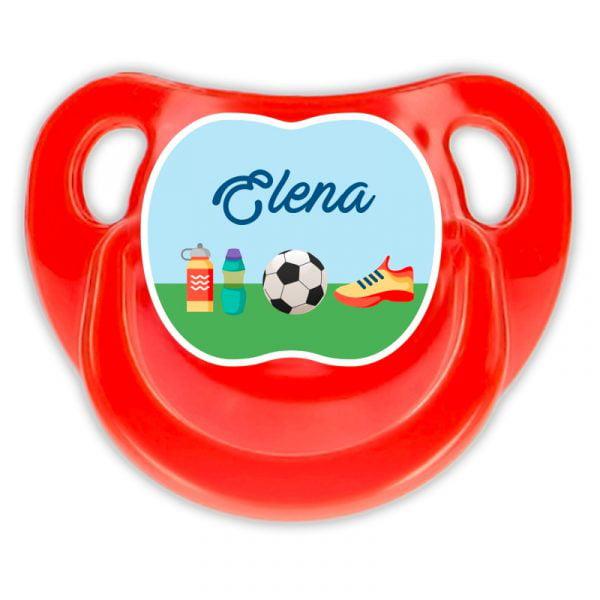 Chupete Personalizado Fútbol Deluxe color rojo
