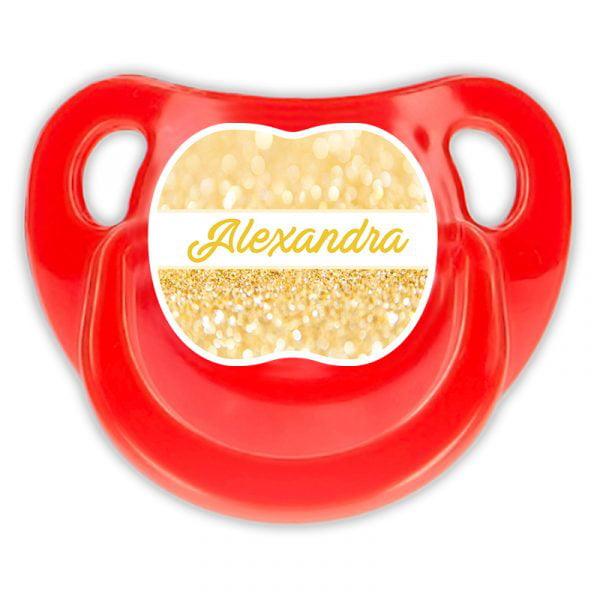Chupete Personalizado Gold Deluxe color rojo