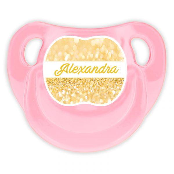 Chupete Personalizado Gold Deluxe color rosa