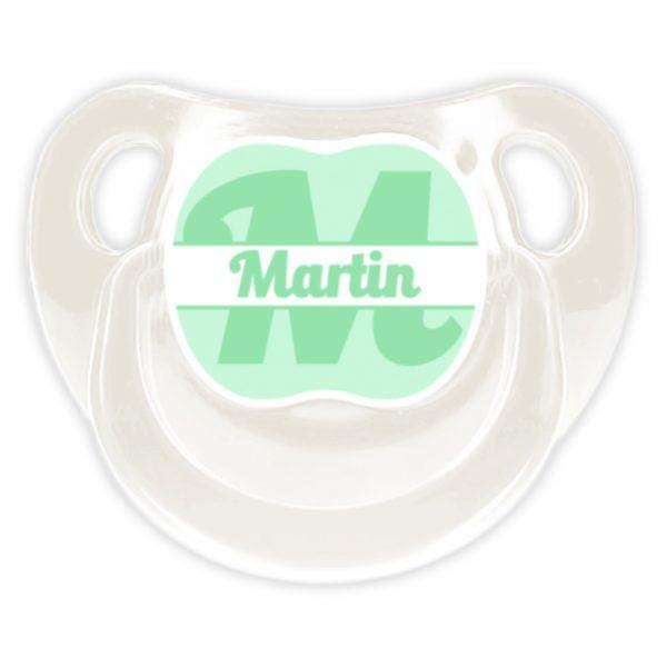 Chupete Personalizado Monograma Verde Deluxe color blanco