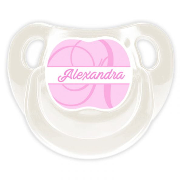 Chupete Personalizado Monograma Pink Deluxe color blanco