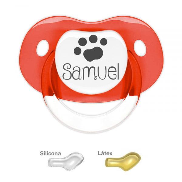 Chupete Personalizado Huella de Mascota, color Rojo