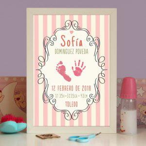 """Cuadro de nacimiento personalizado """"Alicia"""" con huellas"""