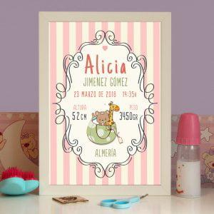 Cuadro de nacimiento personalizado «Alicia»