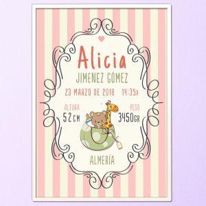 """Cuadro de nacimiento personalizado """"Alicia"""""""