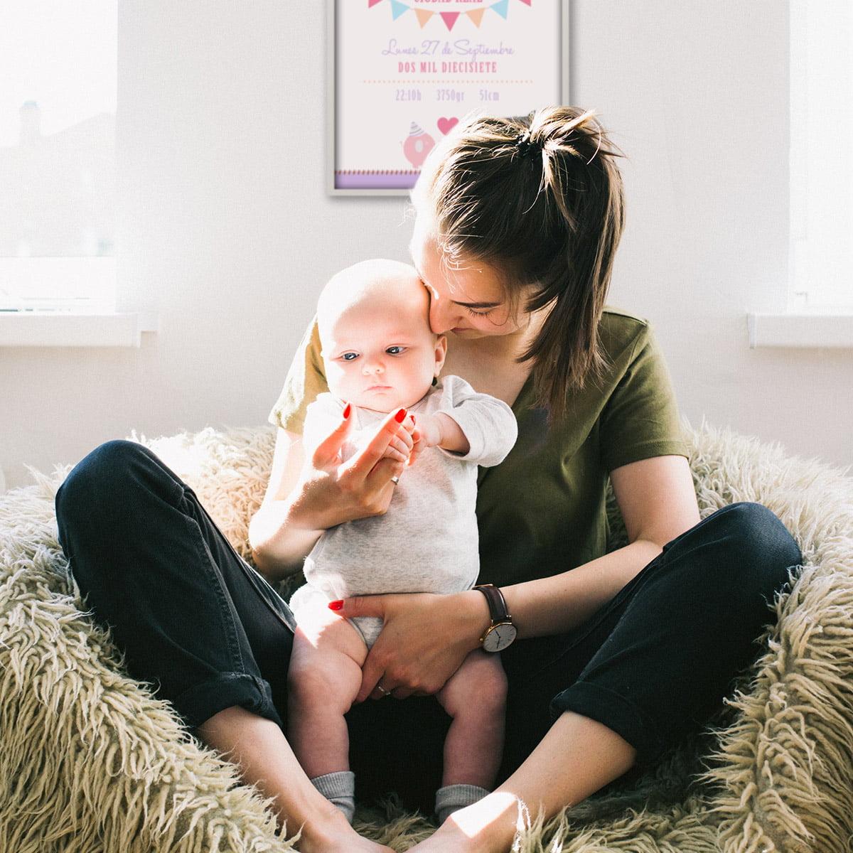 Lamina de nacimiento Dream Party con mamá y bebé