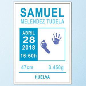 Cuadro de nacimiento personalizado con huellas «Classic Blue»