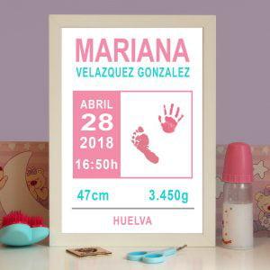 """Cuadro de nacimiento personalizado con huellas """"Classic Pink"""""""