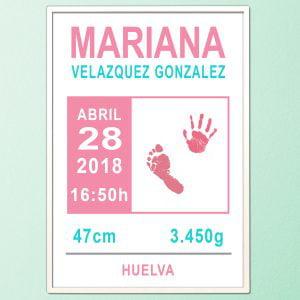 Cuadro de nacimiento personalizado con huellas «Classic Pink»