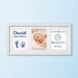 """Cuadro Tríptico de nacimiento """"Huellas de Bebé"""" – color Azul"""