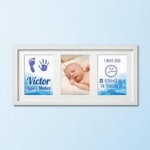 Cuadro Tríptico de nacimiento «Huellas con amor» – color Azul