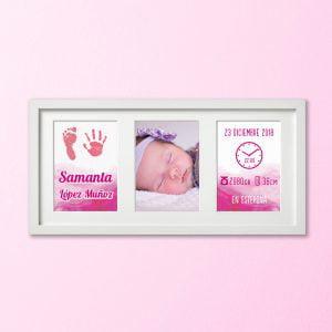 """Cuadro Tríptico de nacimiento """"Huellas con amor"""" – color Rosa Bebé"""