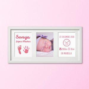 Cuadro Tríptico de nacimiento «Huellas de Bebé» – color Rosa Bebé