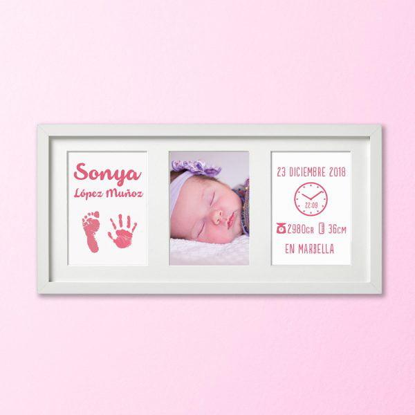 """Cuadro Tríptico """"Huellas de Bebé"""" color Rosa Bebé"""