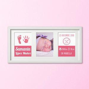 """Cuadro Tríptico de nacimiento """"Huellas de Recuerdo"""" – color Rosa Bebé"""