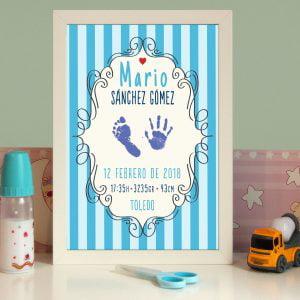 Cuadro de nacimiento personalizado con huellas «Mario» Azul