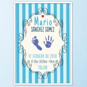 """Cuadro de nacimiento personalizado con huellas """"Mario"""" Azul"""