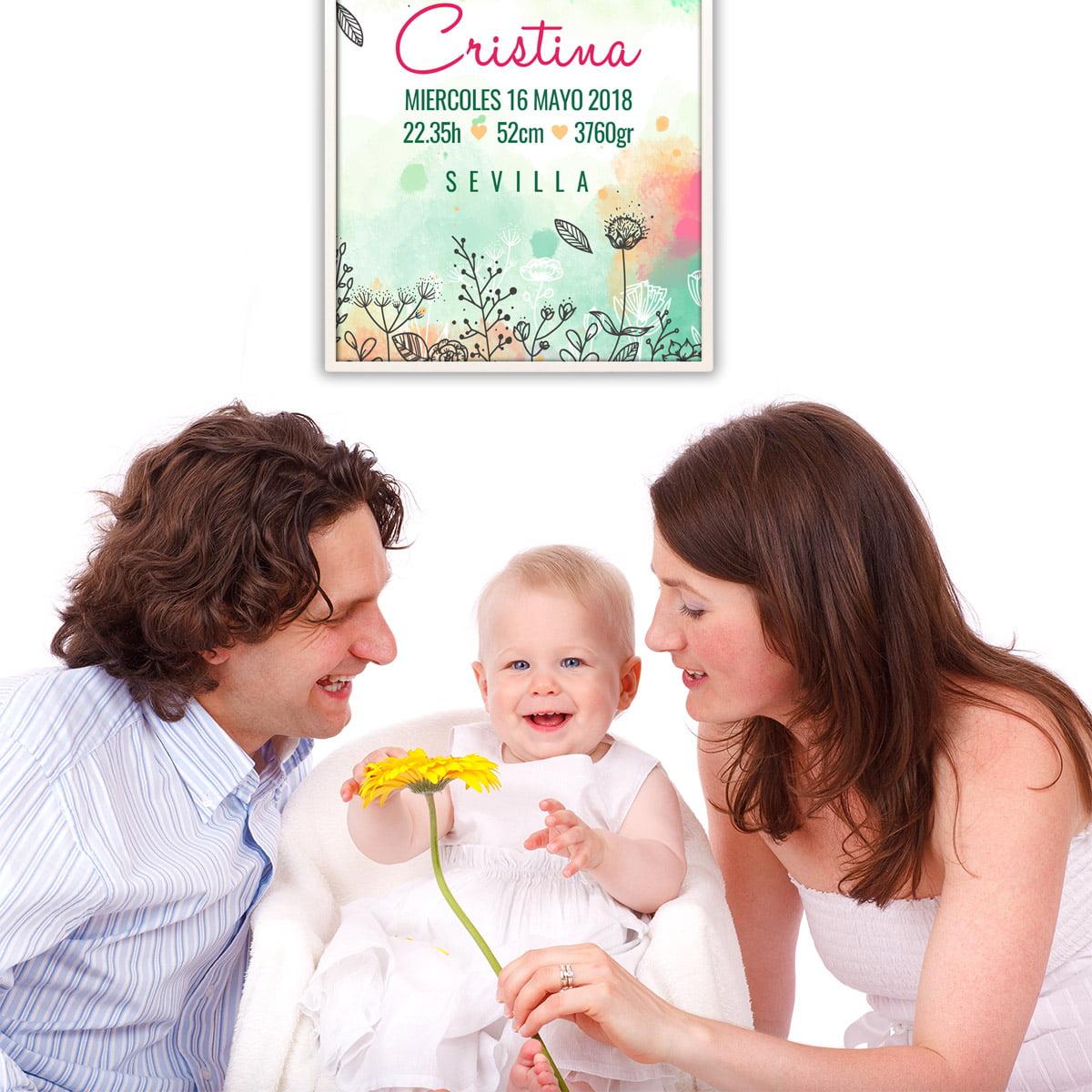 Lamina de nacimiento Meri Flowers con mamá y papá
