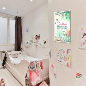 Lámina de nacimiento personalizada modelo «Meri Flowers»